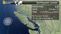 Three consecutive earthquakes strike off Vancouver Island